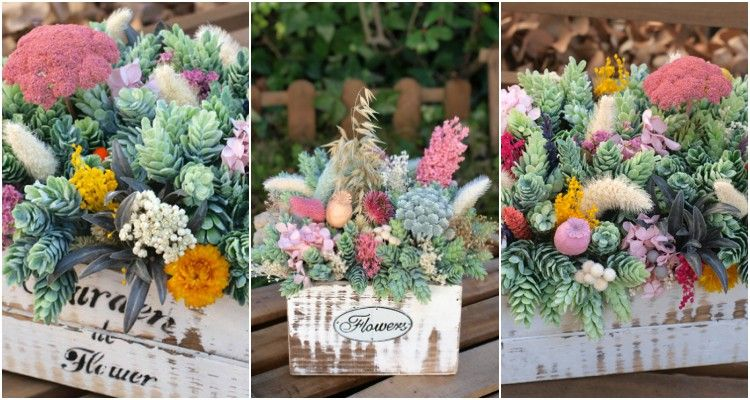 caja de flores vintage