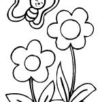 Flores y mariposa infantil