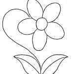 dibujo flor sencilla con sus hojas