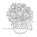 dibujo jarron con flores para colorear