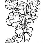 dibujo ramo de rosas para colorear
