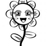 dibujo de flor sonriente infantil para colorear