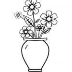 dibujo de jarrón de flores