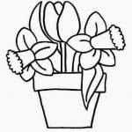 dibujo de maceta con flores