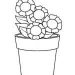 dibujo de maceta con girasoles