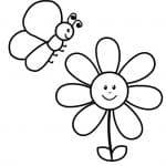 dibujo infantil para colorear de mariposa junto a margarita
