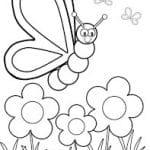 dibujo de mariposa posándose en margaritas