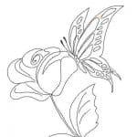 dibujo de rosa y mariposa revoloteando