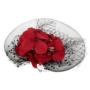 Tocado Sombrero con flores rojas