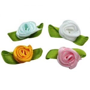 100 mini flores de satén multicolores