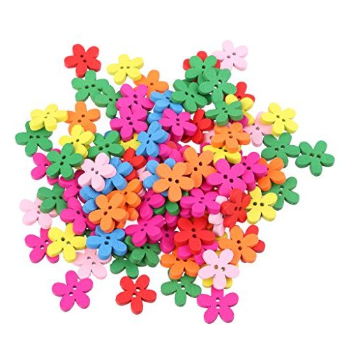 100 unidades de botones de flores de madera