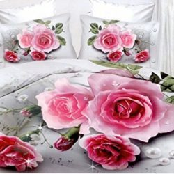 Juego de cama, 4 piezas, funda de edredón + sábana + 2 fundas de almohada, rosas