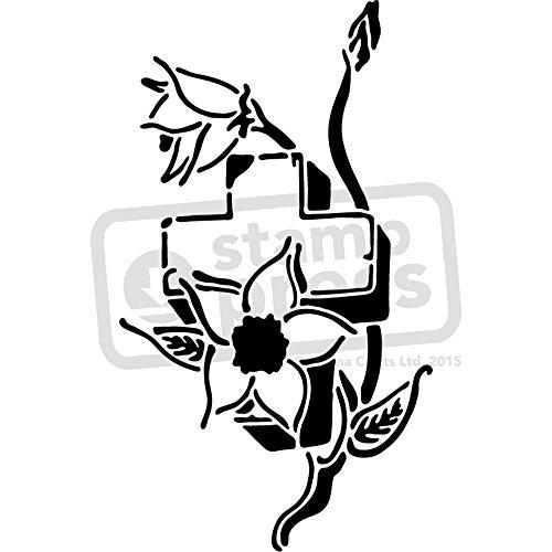 Stencil A5 de cruz y flores