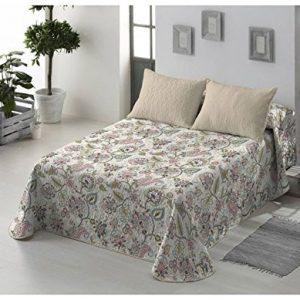 Colcha para cama de matrimonio Bouti reversible con flores en tono turquesa