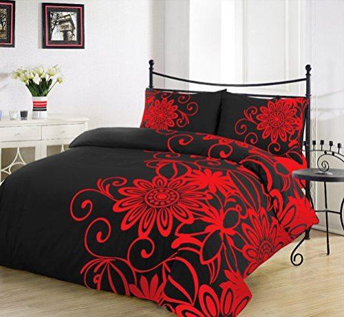 Funda de edredón con diseño de flores color negro y rojo