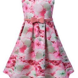 Vestido princesa con cinturón rosa