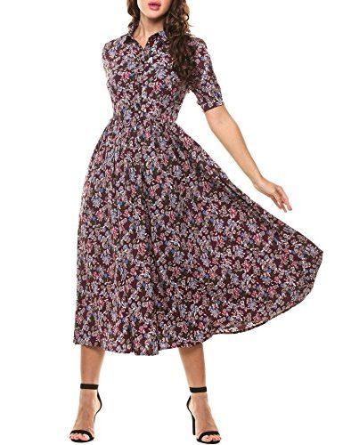 Vestido Bohemio con bonito estampado floral Años 50