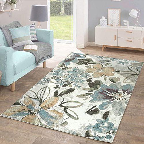 Alfombra De Diseño Moderna para el Salón con Estampado Flores, Tonos Pastel Verde Azul Crema