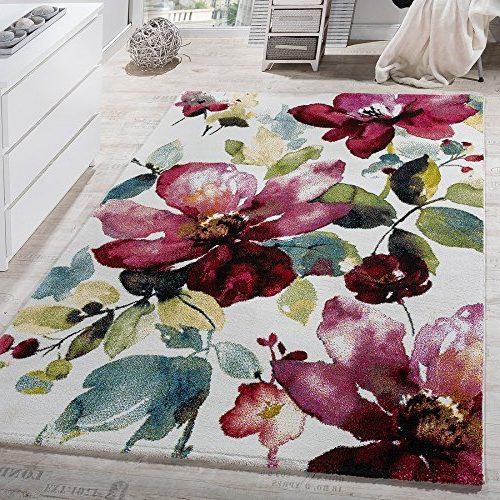 Alfombra Moderna Efecto Lienzo Con Dibujo De Flores Multicolor