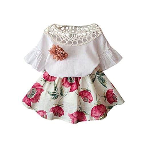 Vestido de amapolas para bebe con flor bordada