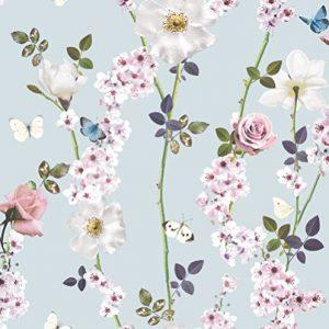 Papel pintado Arthouse, diseño con flores y mariposas, varios colores, color azul