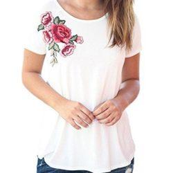 Camiseta Auxo con Rosa estampada