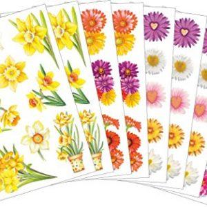Conjunto de pegatinas flores de primavera