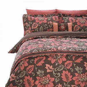 Manta de lujo Throwover de flores Rosas y marrón chocolate