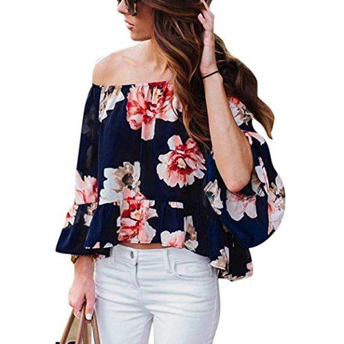 Blusa Befield con estampado de flores, volantes y hombros al descubierto