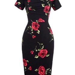 Vestido negro con estampado de rosas