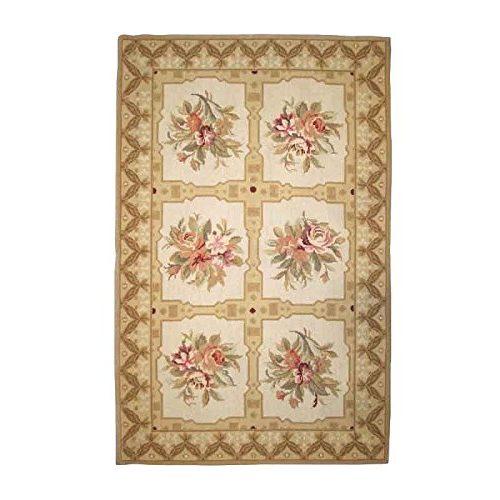 Alfombra Better & Best diseño de cuadros con flores en el centro, 76 x 122 cm, color beige