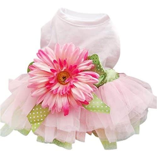 Vestido bebe con falda y lazo con flor margarita