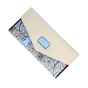 Cartera billetera de cuero y piel con diseño floral