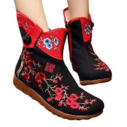 botas bordadas flor del ciruelo