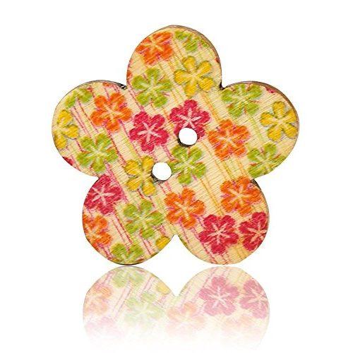 Botones coloridos de madera con florecitas