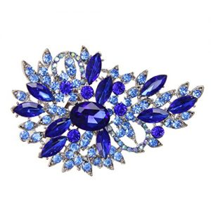 Broche Elegante Flor Del Diamante Color Azul