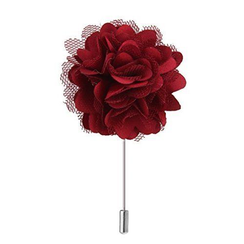 Broche alfiler Flor de Peonía, color Rojo