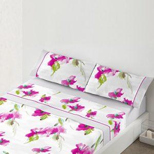 Juego de sábanas con flores, color rosa
