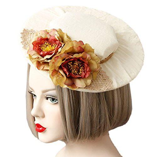 Tocado sombrero con flores