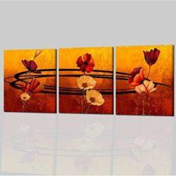 Tríptico con flores pintadas a mano y fondo naranja