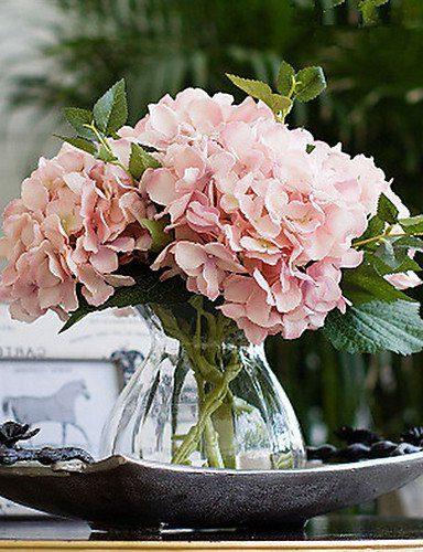 Jarrón California con hortensias artificiales