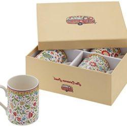 Pack de 4 tazas Churchill con diseño de flores