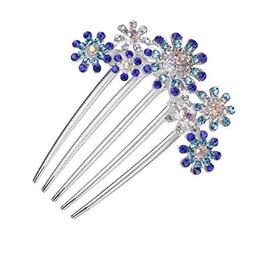 Peineta 5 flores con diamantes de imitación