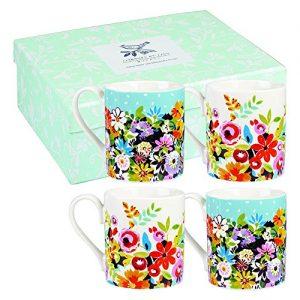 Pack de 4 tazas de flores multicolores
