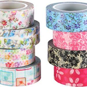 8 coloridas cintas Washi de florecitas