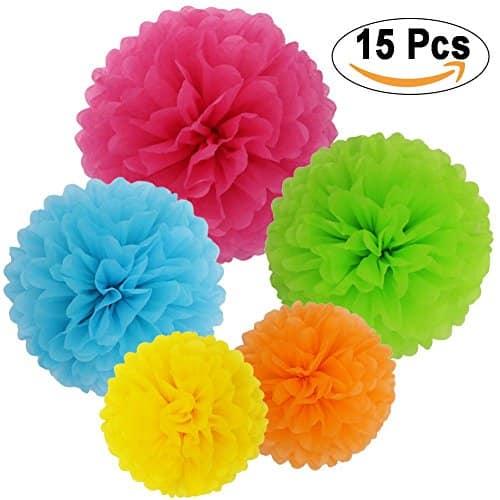 Bolas de papel de seda en diferentes colores