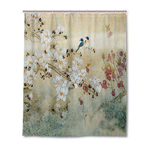 Cortina de ducha con pájaros y flores
