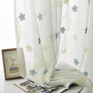 Cortina modernas Lino, flores azules y beige