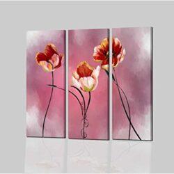 Tríptico con flores rosa Darina