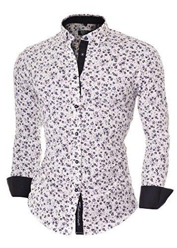 Camisa D&R de manga larga con estampado de flores y botones en el cuello